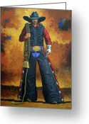 Cowboy Greeting Cards - Wheres My Ride Greeting Card by Lance Headlee