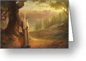 Green Greeting Cards - Wherever He Leads Me Greeting Card by Greg Olsen