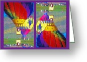 Hot Air Balloon Mixed Media Greeting Cards - Which Way Up - Balloons in Reflection Diptych Greeting Card by Steve Ohlsen