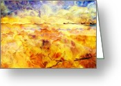 Yellow Line Digital Art Greeting Cards - While Taking A Walk Greeting Card by Jack Zulli