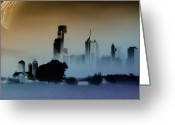 Bill Cannon Mixed Media Greeting Cards - While the City Sleeps Greeting Card by Bill Cannon