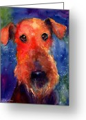 Dog Prints Greeting Cards - Whimsical Airedale Dog painting Greeting Card by Svetlana Novikova