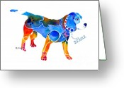Dog Prints Greeting Cards - Whimsical Beagle Greeting Card by Jo Lynch