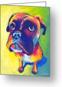 Pet Portrait Drawings Greeting Cards - Whimsical Boxer dog Greeting Card by Svetlana Novikova