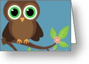 Lori Malibuitalian Greeting Cards - Whimsical Brown Owl Greeting Card by Lori Malibuitalian