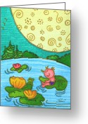 Childrens Artwork Drawings Greeting Cards - Whimsical Childrens Nursery Art Woodland Child Collection WALDO by ROMI Greeting Card by Romi  Neilson