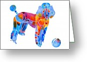 Poodle Greeting Cards - Whimsical French Poodle Greeting Card by Jo Lynch