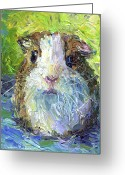 Pet Portrait Drawings Greeting Cards - Whimsical Guinea Pig painting print Greeting Card by Svetlana Novikova
