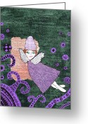 Gift For A Mixed Media Greeting Cards - Whimsical Purple Winged Girl Mixed Media Collage Greeting Card by Karen Pappert