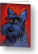 Whimsical Greeting Cards - whimsical Schnauzer dog painting Greeting Card by Svetlana Novikova