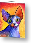 Custom Pet Portrait Greeting Cards - Whimsical Sphynx Cat painting Greeting Card by Svetlana Novikova
