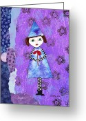 Gift For A Mixed Media Greeting Cards - Whimsical Tie Dye Girl Mixed Media Collage Greeting Card by Karen Pappert