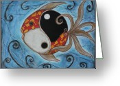 Fish Art Pastels Greeting Cards - Whimsy Fish 3 Yin and Yang Greeting Card by Rain Ririn