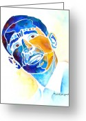 Watercolor Painting Greeting Cards - Whimzical Obama Greeting Card by Jo Lynch