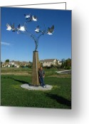 Kinetic Sculpture Greeting Cards - Whirlybird Greeting Card by Peter Piatt