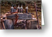 Firearms Photo Greeting Cards - Whiskey and guns Greeting Card by Leland Howard