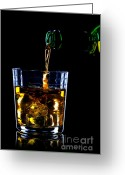 Pouring Greeting Cards - Whiskey being poured Greeting Card by Richard Thomas