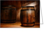 Wooden Greeting Cards - Whisky Barrel Greeting Card by Olivier Le Queinec