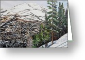 Pine Trees Painting Greeting Cards - Whispering pines Greeting Card by Marilyn  McNish