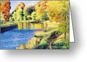 Yellow Trees Greeting Cards - Whispering River Greeting Card by David Lloyd Glover
