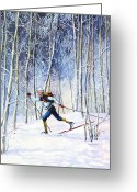 Ski Art Painting Greeting Cards - Whispering Tracks Greeting Card by Hanne Lore Koehler