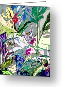 Flower Tree Drawings Greeting Cards - Whispering Wind Flowers Greeting Card by Mindy Newman