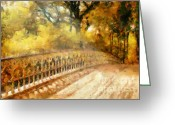 Brushing Greeting Cards - Whispers On A Bridge Greeting Card by Zeana Romanovna