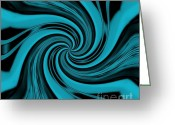 Twirl Greeting Cards - Whispy Turquoise Twirl Greeting Card by Marsha Heiken