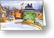 Trains Painting Greeting Cards - Whistle Junction in Ironton Missouri Greeting Card by Kip DeVore
