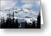 Winter Trees Photo Greeting Cards - Whistler mountain peak view from Blackcomb Greeting Card by Pierre Leclerc