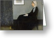 Grey Painting Greeting Cards - Whistlers Mother Greeting Card by James Abbott McNeill Whistler