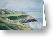 Deb Ronglien Watercolor Greeting Cards - Whistling Straits 7th Hole Greeting Card by Deborah Ronglien
