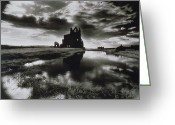 Silver Gelatin Greeting Cards - Whitby Abbey Greeting Card by Simon Marsden