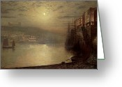 Harbors Greeting Cards - Whitby Greeting Card by John Atkinson Grimshaw