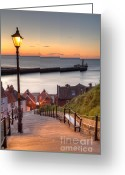 Williams Photo Greeting Cards - Whitby Steps - Orange Glow Greeting Card by Martin Williams