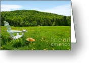 Grow Digital Art Greeting Cards - White adirondack chair in a field of tall grass Greeting Card by Sandra Cunningham