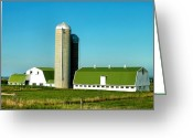 White And Green Greeting Cards - White And Green Barns Greeting Card by Steven Ainsworth