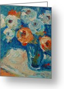 Flower Still Life Prints Painting Greeting Cards - White and Orange Roses in a Sea of Blue Greeting Card by Thomas Bertram POOLE