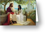 Jesus Painting Greeting Cards - White as Snow Greeting Card by Greg Olsen