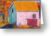 Old Barn Pastels Greeting Cards - White Barn Greeting Card by John  Williams