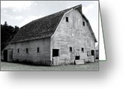 John Deere Greeting Cards - White Barn Greeting Card by Julie Hamilton