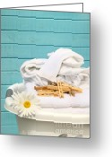 Light Aqua Greeting Cards - White  basket with laundry Greeting Card by Sandra Cunningham