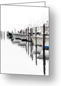 Acrylic Framed Greeting Cards - White Boats I Greeting Card by Dan Carmichael