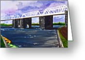 Www.artworkxofmann.com Mixed Media Greeting Cards - White Bridge   Greeting Card by Roberto Edmanson-Harrison