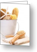 Nature Body Greeting Cards - White bucket filled with sponges and scrub brushes  Greeting Card by Sandra Cunningham