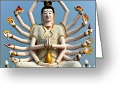Hands Digital Art Greeting Cards - White Buddha Greeting Card by Adrian Evans