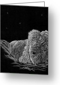 Buffalo Mixed Media Greeting Cards - White Buffalo Greeting Card by ShadowWalker RavenEyes Dibler