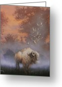 Buffalo Painting Greeting Cards - White Buffalo Spirit Greeting Card by Tom Shropshire