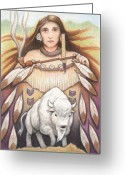 Buffalo Drawings Greeting Cards - White Buffalo Woman Greeting Card by Amy S Turner