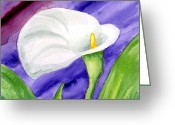 Violet Greeting Cards - White Calla Lily Purple Mood Greeting Card by Ann Troe
